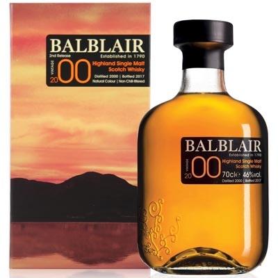 巴布莱尔2000年第二版单一麦芽苏格兰威士忌 Balblair Vintage 2000 2nd Release Highland Single Malt Scotch Whisky 700ml